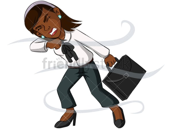 Black business woman fighting windstorm - Image isolated on transparent background. PNG