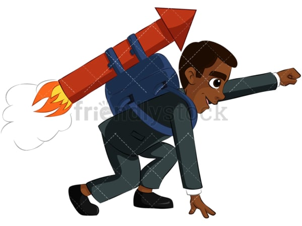 Black businessman launching with rocket - Image isolated on transparent background. PNG