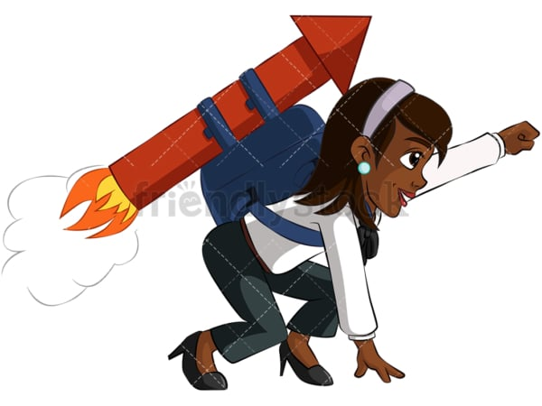 Black businesswoman launching with rocket - Image isolated on transparent background. PNG
