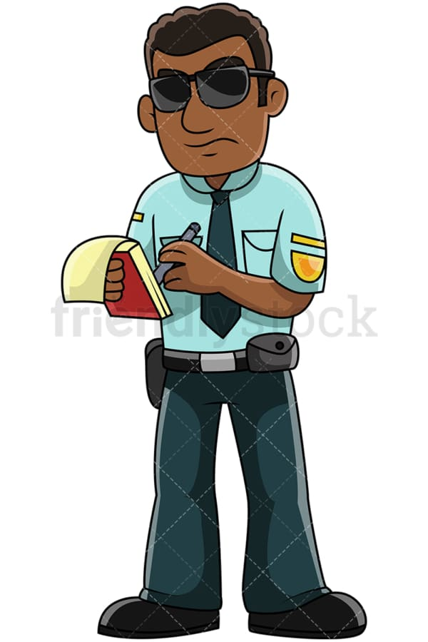 Black male police officer writing ticket - Image isolated on transparent background. PNG