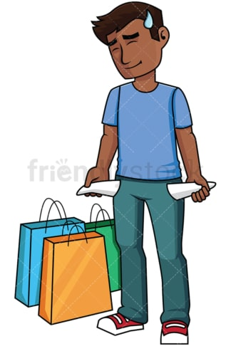 Black man empty pockets after shopping - Image isolated on transparent background. PNG