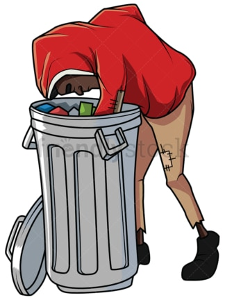 Black man looking for food in trash. PNG - JPG and vector EPS file formats (infinitely scalable). Image isolated on transparent background.