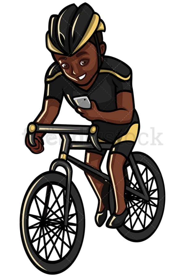 Black man texting while riding a bike - Image isolated on white background. Transparent PNG and vector (infinitely scalable) EPS