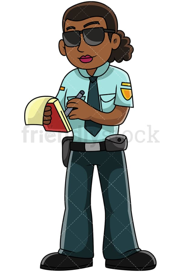 Black policewoman writing ticket - Image isolated on transparent background. PNG