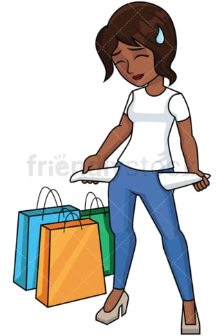 Black woman empty pockets after shopping - Image isolated on transparent background. PNG