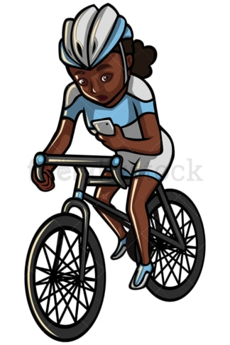 Black woman texting while riding a bike - Image isolated on white background. Transparent PNG and vector (infinitely scalable) EPS