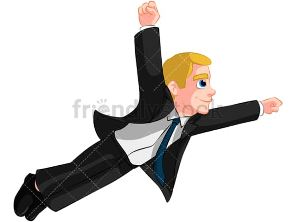 Business man flying like superhero - Image isolated on transparent background. PNG