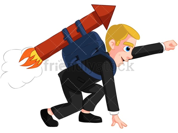Businessman launching with rocket - Image isolated on transparent background. PNG
