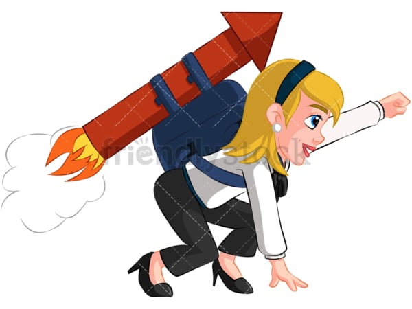 Businesswoman launching with rocket - Image isolated on transparent background. PNG