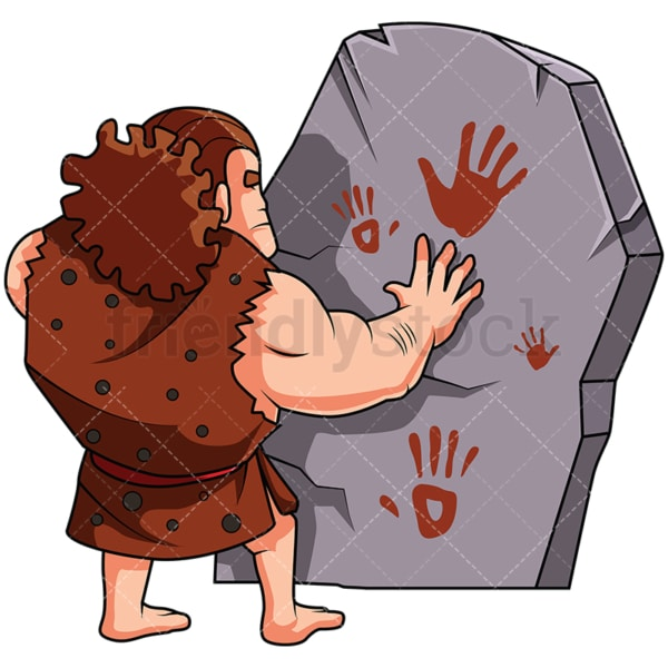 Caveman Painting On A Stone With His Hands - Image isolated on white background. Transparent PNG and vector (infinitely scalable) EPS