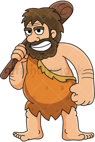Caveman resting a bat on his shoulder - Image isolated on white background. Transparent PNG and vector (infinitely scalable) EPS