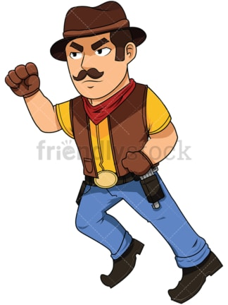 Cowboy running with fists clenched - Image isolated on white background. Transparent PNG and vector (infinitely scalable) EPS