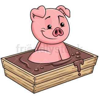 Cute pig bathing in mud - Image isolated on transparent background. PNG