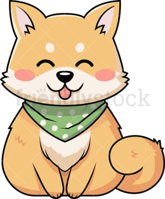 Cute shiba inu dog wearing handkerchief. PNG - JPG and vector EPS (infinitely scalable).
