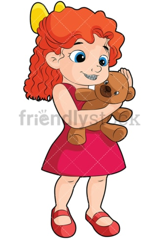 Girl with braces holding teddy bear - Image isolated on transparent background. PNG