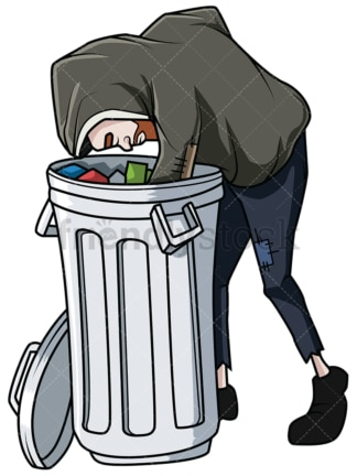 Homeless man looking for food in trash. PNG - JPG and vector EPS file formats (infinitely scalable). Image isolated on transparent background.