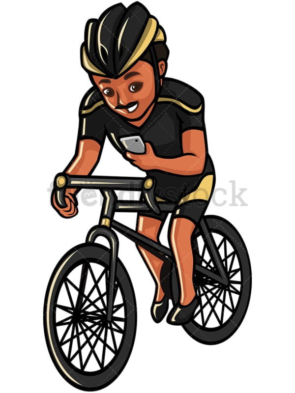 Indian man texting while riding a bike - Image isolated on white background. Transparent PNG and vector (infinitely scalable) EPS