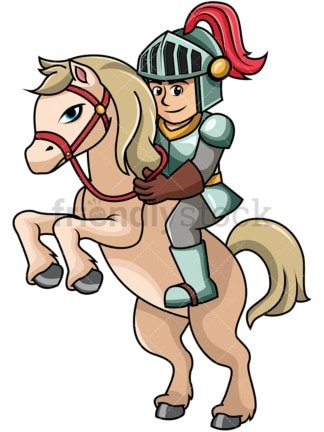 Iron knight on rearing horse. PNG - JPG and vector EPS file formats (infinitely scalable). Image isolated on transparent background.