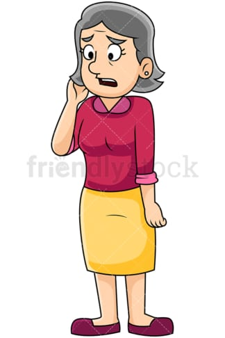 Irritated mature woman talking sadly - Image isolated on transparent background. PNG