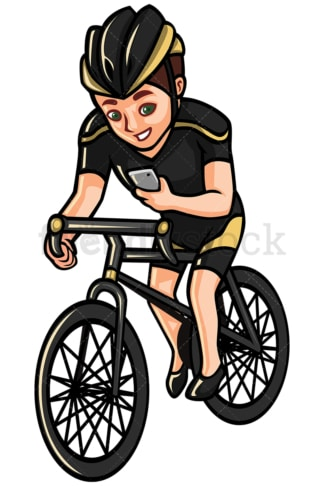 Man checking his phone while riding bike - Image isolated on white background. Transparent PNG and vector (infinitely scalable) EPS