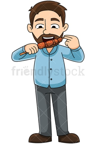 Man eating greek souvlaki - Image isolated on transparent background. PNG