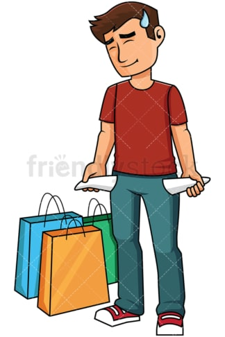 Man with empty pockets after shopping - Image isolated on transparent background. PNG