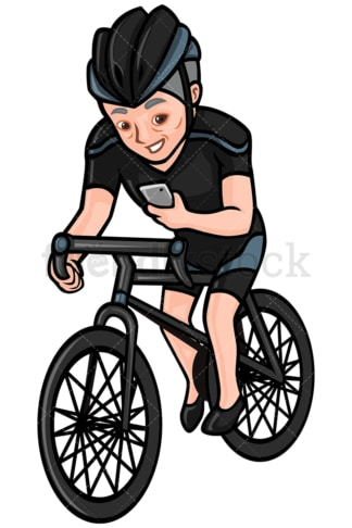 Mature man texting while riding a bike - Image isolated on white background. Transparent PNG and vector (infinitely scalable) EPS, PDF.