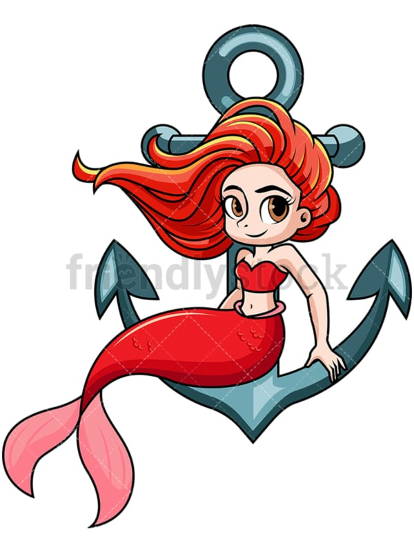 Mermaid sitting on anchor. PNG - JPG and vector EPS file formats (infinitely scalable). Image isolated on transparent background.