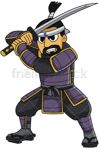 Noble japanese samurai attacking. PNG - JPG and vector EPS file formats (infinitely scalable). Image isolated on transparent background.