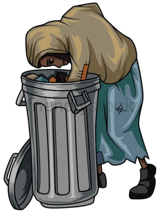 Poor black woman looking in trash. PNG - JPG and vector EPS file formats (infinitely scalable). Image isolated on transparent background.