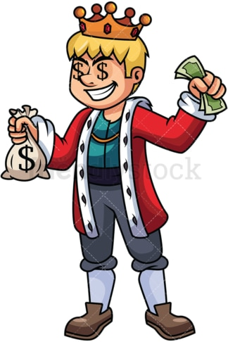 Rich king holding money - Image isolated on transparent background. PNG