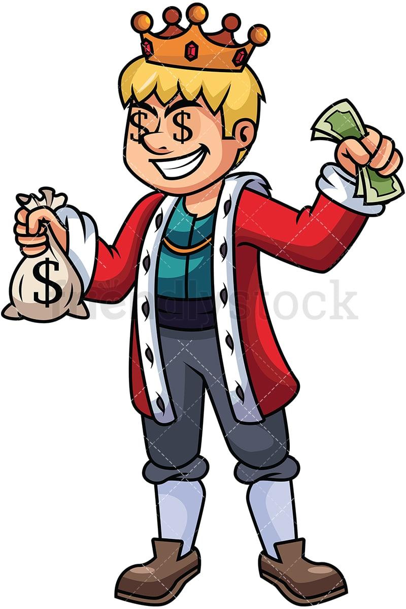 rich king holding money vector cartoon clipart friendlystock
