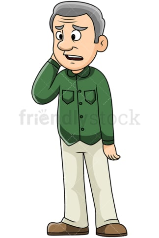 Sad mature man hearing bad news - Image isolated on transparent background. PNG