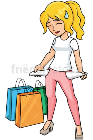 Woman with empty pockets after shopping - Image isolated on transparent background. PNG