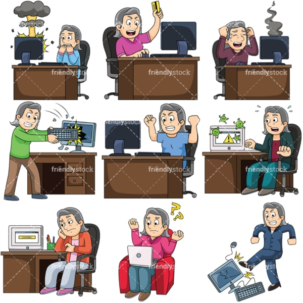 Angry woman having trouble with computer. PNG - JPG and vector EPS file formats (infinitely scalable). Images isolated on transparent background.