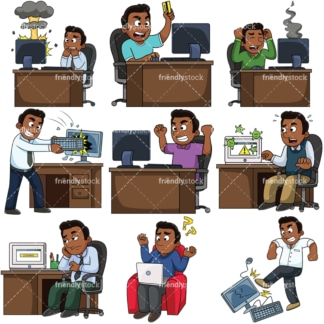 Black man with computer issues. PNG - JPG and vector EPS file formats (infinitely scalable). Images isolated on transparent background.