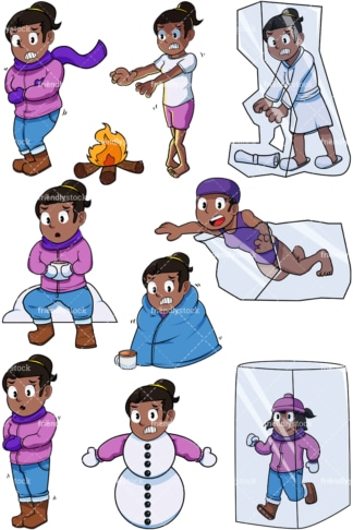 Black woman feeling cold. PNG - JPG and vector EPS file formats (infinitely scalable). Images isolated on transparent background.