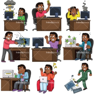 Black woman having trouble with computer. PNG - JPG and vector EPS file formats (infinitely scalable). Images isolated on transparent background.