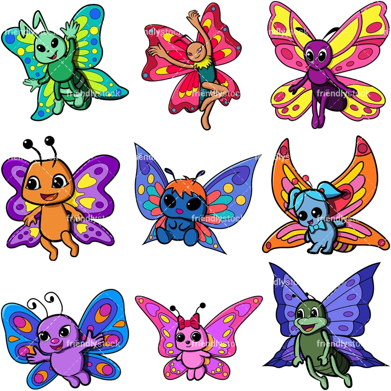 Cute Butterflies Cartoon Vector Clipart - FriendlyStock