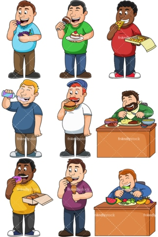 Fat Guy Eating Cake Cartoon Vector Clipart Friendlystock