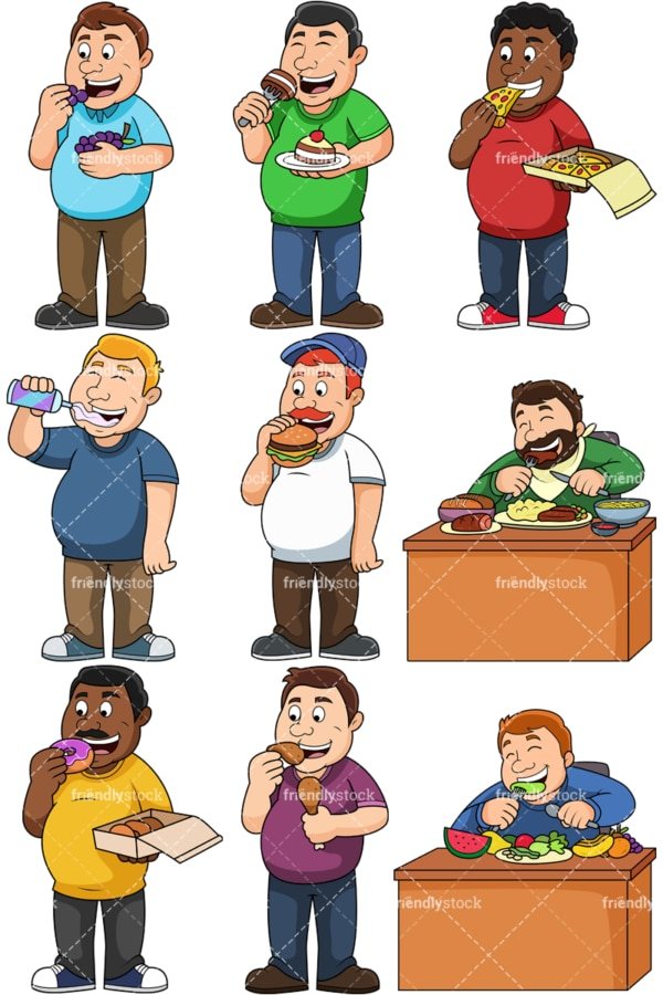Overweight men eating. PNG - JPG and vector EPS file formats (infinitely scalable). Images isolated on transparent background.