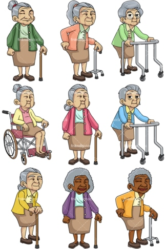 Frail female senior citizens. PNG - JPG and vector EPS file formats (infinitely scalable). Images isolated on transparent background.