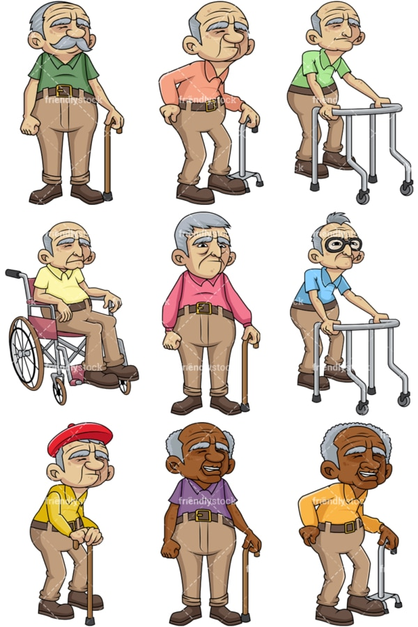 Frail male senior citizens. PNG - JPG and vector EPS file formats (infinitely scalable). Images isolated on transparent background.