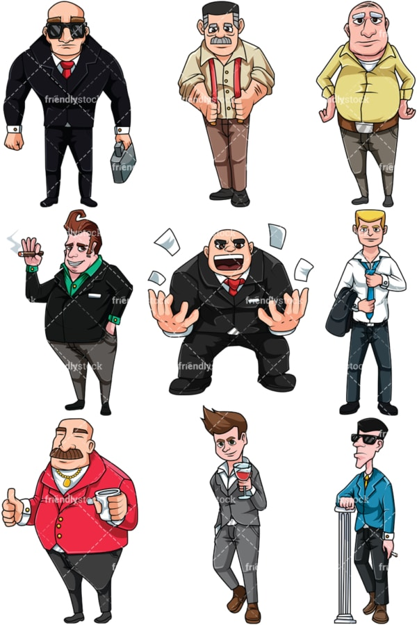 Male bosses and supervisors. PNG - JPG and vector EPS file formats (infinitely scalable). Image isolated on transparent background.