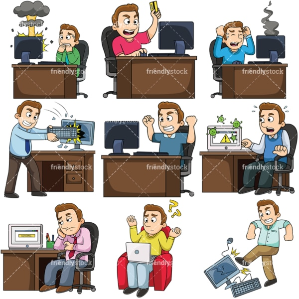 Man having problems with computer. PNG - JPG and vector EPS file formats (infinitely scalable). Images isolated on transparent background.
