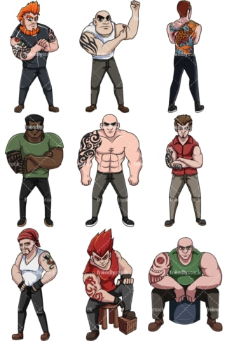 Men with tattoos. PNG - JPG and vector EPS file formats (infinitely scalable). Image isolated on transparent background.