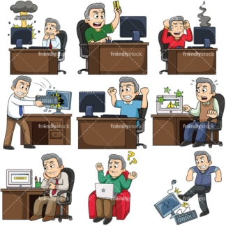 Old man having computer trouble. PNG - JPG and vector EPS file formats (infinitely scalable). Images isolated on transparent background.