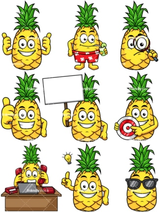 Pineapple cartoon. PNG - JPG and vector EPS file formats (infinitely scalable). Image isolated on transparent background.