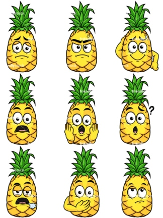 Pineapple character collection. PNG - JPG and vector EPS file formats (infinitely scalable). Image isolated on transparent background.