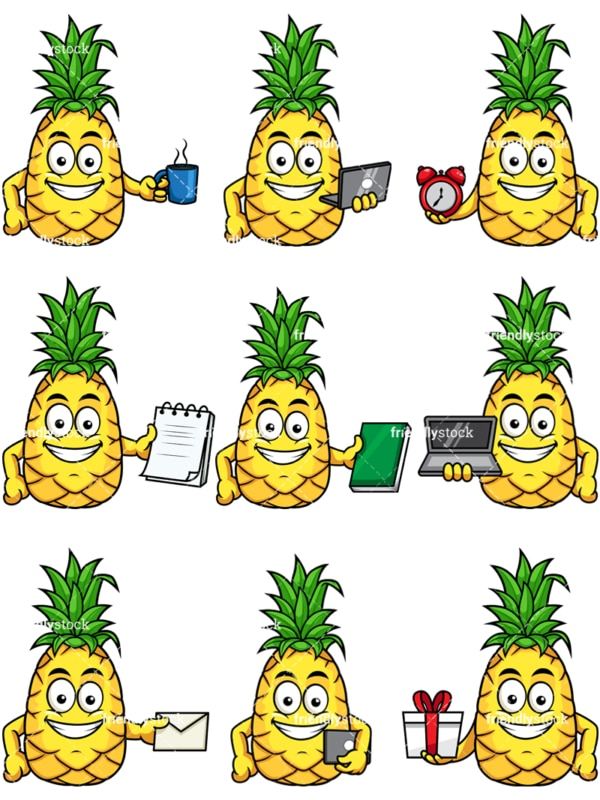 Pineapple emoji. PNG - JPG and vector EPS file formats (infinitely scalable). Image isolated on transparent background.